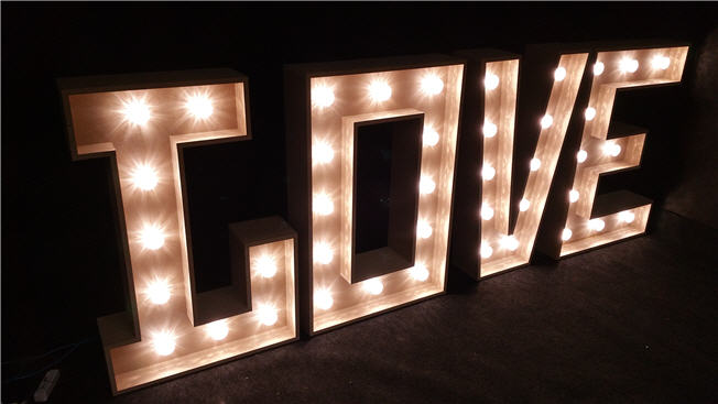 Set of 4 3D Light Letters to make the word Love